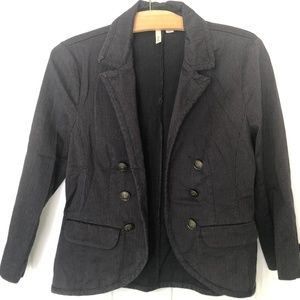 ✪ Frenchi Black + Gray Cropped Pinstripe Blazer